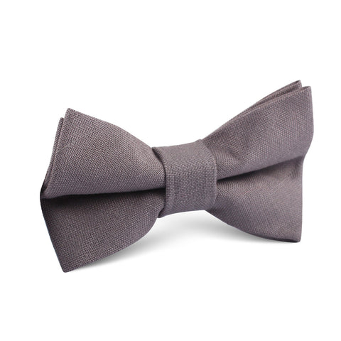Grey Slub Linen Kids Bow Tie