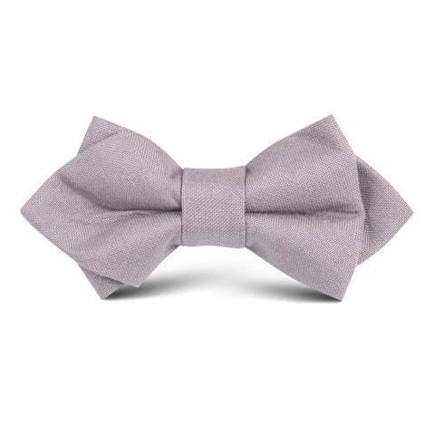 Grey Slub Linen Kids Diamond Bow Tie