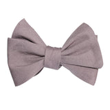Grey Slub Linen Self Tie Bow Tie 2