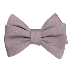 Grey Slub Linen Self Tie Bow Tie