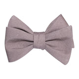 Grey Slub Linen Self Tie Bow Tie 1