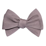 Grey Slub Linen Self Tie Bow Tie 3