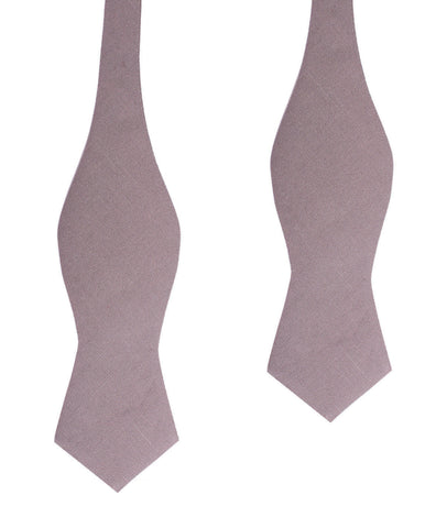 Grey Slub Linen Self Tie Diamond Tip Bow Tie