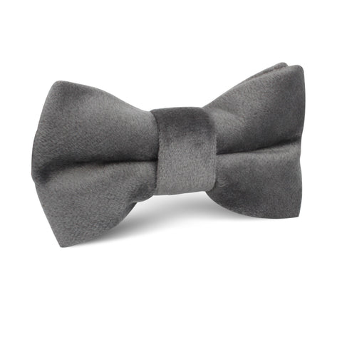 Grey Velvet Kids Bow Tie
