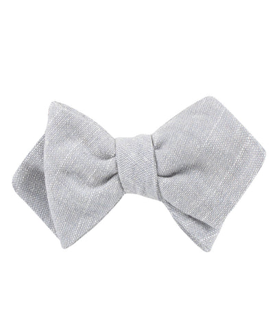 Grey Worm Slub Linen Diamond Self Bow Tie