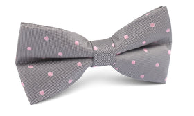 Grey with Baby Pink Polka Dots Bow Tie