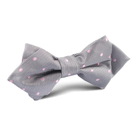 Grey with Baby Pink Polka Dots Diamond Bow Tie