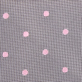 Grey with Baby Pink Polka Dots Fabric Self Tie Bow Tie M113