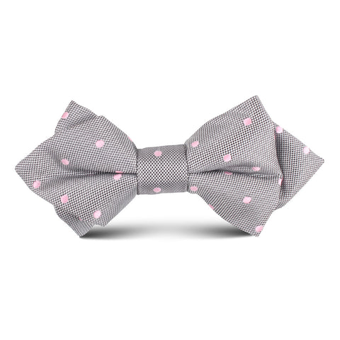 Grey with Baby Pink Polka Dots Kids Diamond Bow Tie