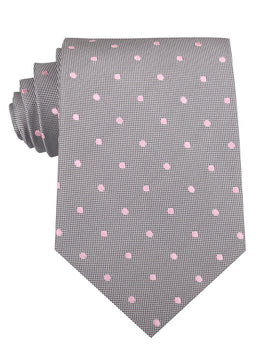 Grey with Baby Pink Polka Dots Necktie
