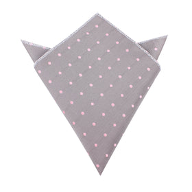 Grey with Baby Pink Polka Dots Pocket Square
