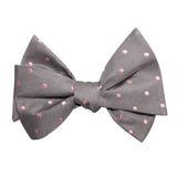 Grey with Baby Pink Polka Dots Self Tie Bow Tie 2