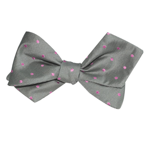 Grey with Baby Pink Polka Dots Self Tie Diamond Tip Bow Tie