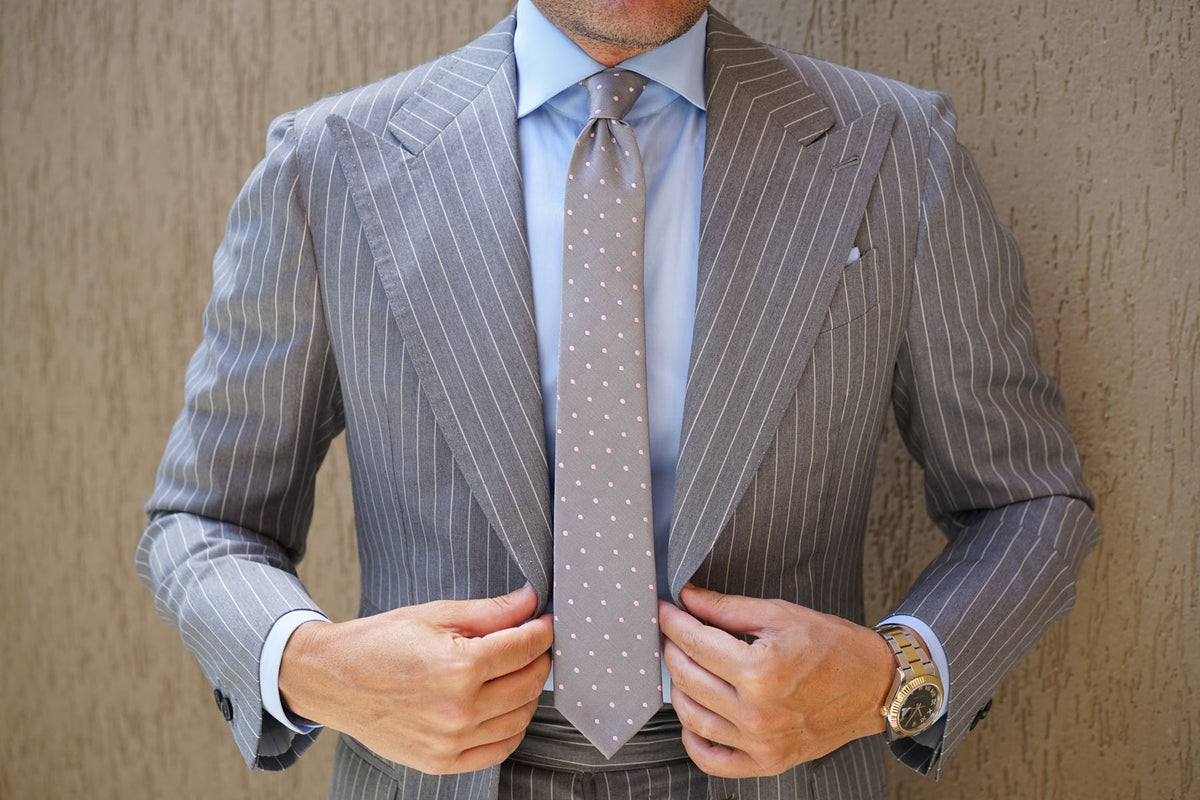 Grey with Baby Pink Polka Dots Skinny Tie