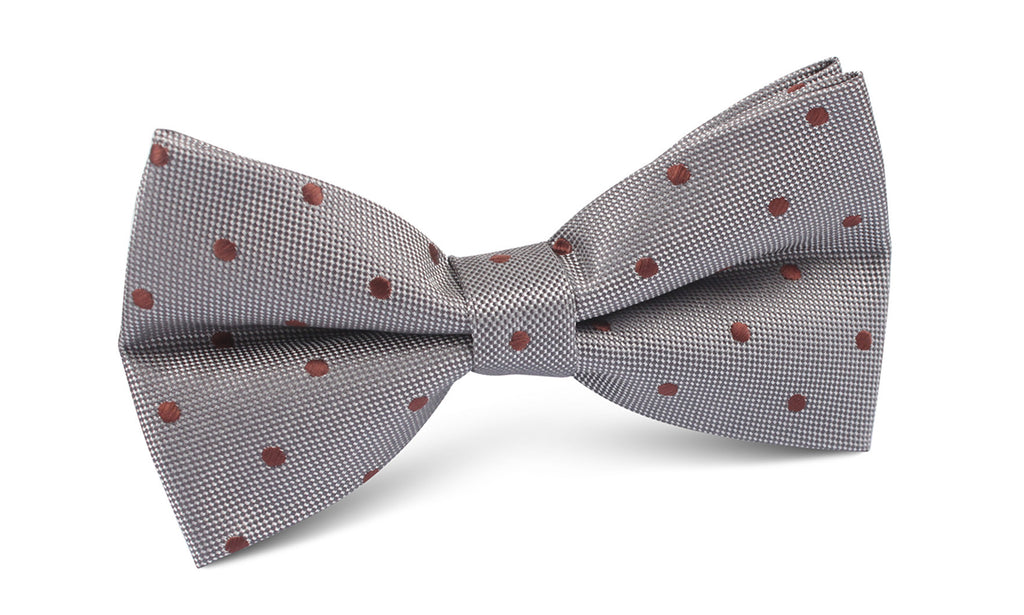 Grey with Brown Polka Dots Bow Tie