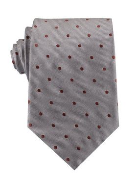 Grey with Brown Polka Dots Necktie