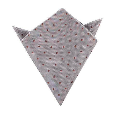 Grey with Brown Polka Dots Pocket Square