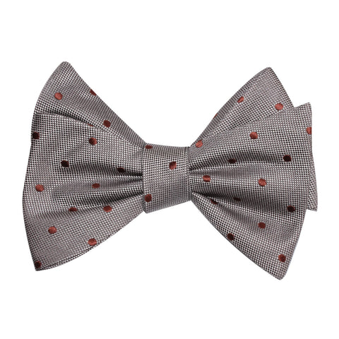 Grey with Brown Polka Dots Self Tie Bow Tie
