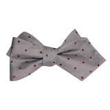 Grey with Brown Polka Dots Self Tie Diamond Tip Bow Tie 2
