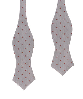 Grey with Brown Polka Dots Self Tie Diamond Tip Bow Tie