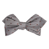 Grey with Brown Polka Dots Self Tie Diamond Tip Bow Tie 1