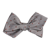 Grey with Brown Polka Dots Self Tie Diamond Tip Bow Tie 3