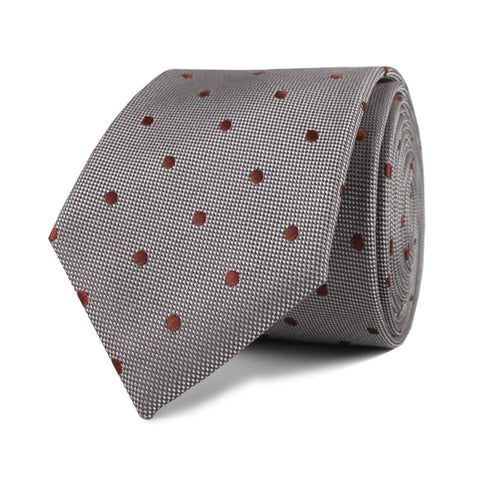 Grey with Brown Polka Dots Skinny Tie
