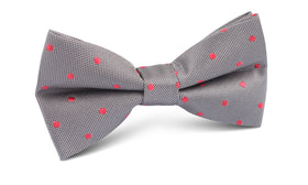 Grey with Hot Pink Polka Dots Bow Tie