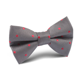 Grey with Hot Pink Polka Dots Kids Bow Tie