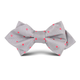 Grey with Hot Pink Polka Dots Kids Diamond Bow Tie