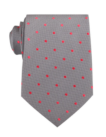 Grey with Hot Pink Polka Dots Necktie