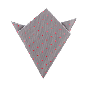 Grey with Hot Pink Polka Dots Pocket Square