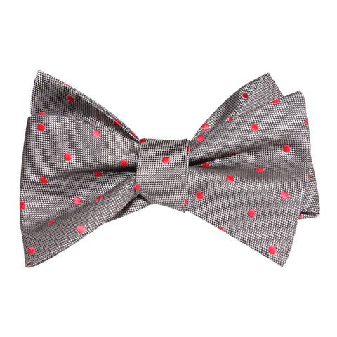 Grey with Hot Pink Polka Dots Self Tie Bow Tie