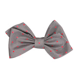 Grey with Hot Pink Polka Dots Self Tie Diamond Tip Bow Tie 1