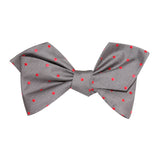 Grey with Hot Pink Polka Dots Self Tie Diamond Tip Bow Tie 2