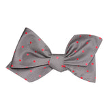 Grey with Hot Pink Polka Dots Self Tie Diamond Tip Bow Tie 3