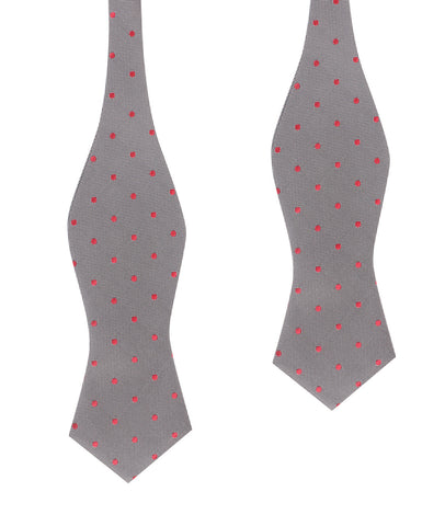 Grey with Hot Pink Polka Dots Self Tie Diamond Tip Bow Tie