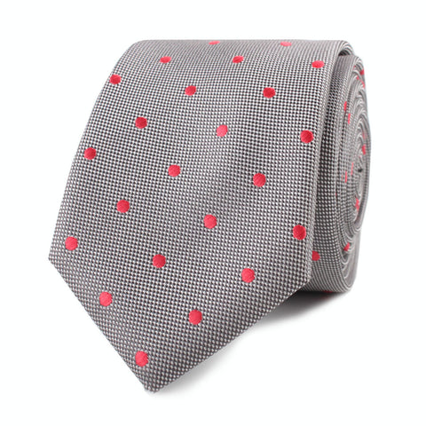 Grey with Hot Pink Polka Dots Skinny Tie