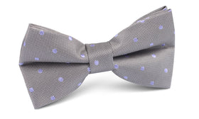 Grey with Lavender Purple Polka Dots Bow Tie