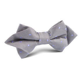 Grey with Lavender Purple Polka Dots Diamond Bow Tie
