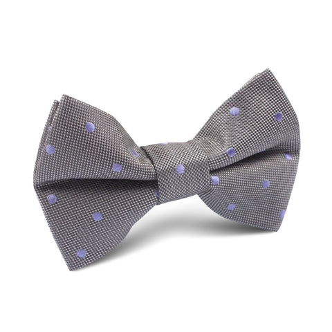 Grey with Lavender Purple Polka Dots Kids Bow Tie