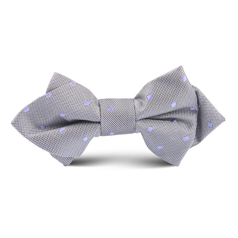 Grey with Lavender Purple Polkadots Kids Diamond Bow Tie