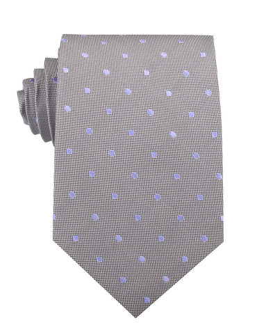 Grey with Lavender Purple Polka Dots Necktie