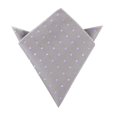Grey with Lavender Purple Polka Dots Pocket Square