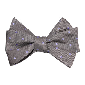 Grey with Lavender Purple Polka Dots Self Tie Bow Tie