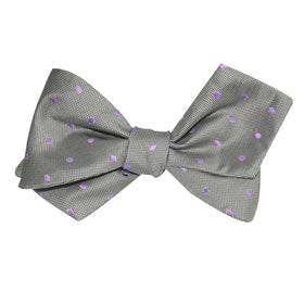 Grey with Lavender Purple Polka Dots Self Tie Diamond Tip Bow Tie