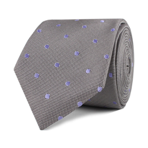 Grey with Lavender Purple Polka Dots Skinny Tie