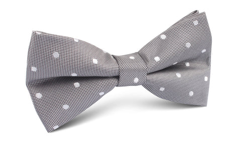 Grey with Milky White Polka Dots Bow Tie