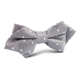 Grey with Milky White Polka Dots Diamond Bow Tie