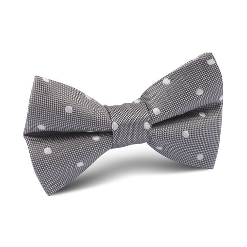Grey with Milky White Polka Dots Kids Bow Tie